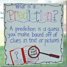 Making predictions in a story is such an important element of imagination and comprehension for a student. I have seen this in my internship where students will give ideas in a large group reading what they will believe will happen in the story. I have also implemented more predictions in literacy by doing a picture walk with the students.