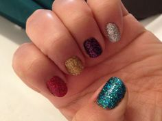Christmas Day Nails - Blue, Red, Gold, Purple & Silver Glitter