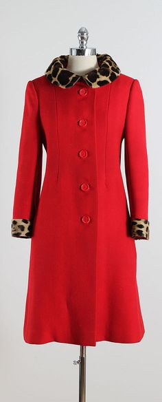 ➳ vintage 1950s coat  * red wool and leopard print pony hair * silk crepe lining * red button front * pockets * by Emanuels  condition |