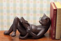 Reading cat bookend
