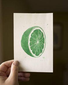 Lime Lino Cut