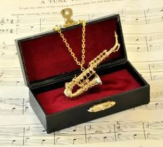 Saxophone Necklace in Case Gold Alto Saxophone by twopennylane