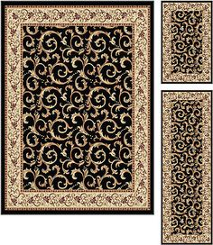 black traditional european scrolls 5x7 area rug 2x5 runner 2x3 accent 3pc set