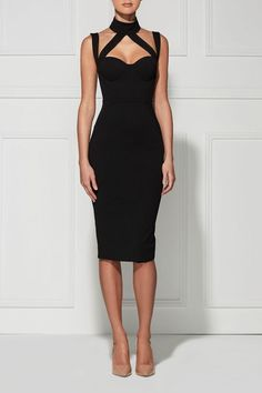 Rose' Halter Choker Neck Bandage Dress.