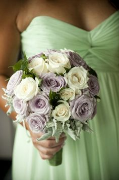 Mint Dress + White Roses + Lavender Roses via Kate Hill Flowers | Gallery