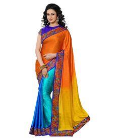 Indian Saree: Online Saree Shopping Made Easy With Latest Designs at Utsav Fashion Latest Indian Saree, Indian Sarees Online, Ethnic Looks, Saree Shopping, Saree Collection, Silk Sarees, Sari, Orange Yellow, Festive