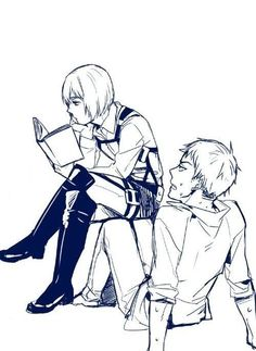 Jean Kirstein x Armin Arlert....what's wrong jean!? You look flustered......my butt would hurt if I sat like that!