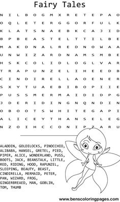 Fairy Tale Unicorn Coloring Pages | Fairy tales word search coloring page