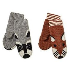Recycled Cotton Animal Mittens- Raccoon and Fox  $11.99     #pintowinGifts & @giftsdotcom