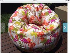 Bean Bag Cover Indoor/Outdoor Flamingo Bean by MyBeachsideStyle