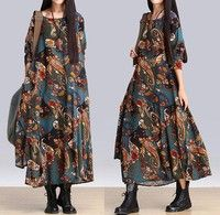 Women's Ethnic Floral Print Loose Long Sleeve Round Neck Ankle Length Linen Dress