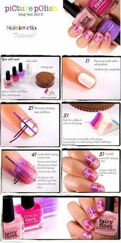 Cool criss-cross nails! #fairyfloss #nails #nailart #crisscrossnails #howto #pictorial