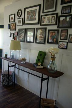 Our house, now a home: DIY industrial/rustic console table. To see more click on post or visit http://ourhousenowahome.com/