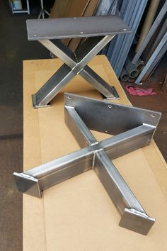 "Set of 2 Modern Bench ""X"" Legs Heavy Duty industrial, Metal tubing Legs 16 H x 12 W"