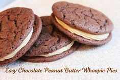 using a chocolate cake mix, bake like cookies and fill with this rich and delicious peanut butter frosting/filling