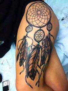 A popular tattoo of a dreamcatcher on the girl's thigh. Style: Neo Traditional. Tags: Popular, Sexy