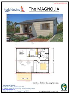 Get a granny flat design tailored to your lifestyle at Todd Devine Homes. Start with our 1 Bedroom The Magnolia flat design! Small House Floor Plans, Small Tiny House, Tiny House Living, Tiny House Design, Small House Plans, House Construction Plan, Bungalow, Tiny House Nation, House Blueprints