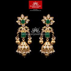 Gold Jhumka Earrings, Jewelry Design Earrings, Gold Earrings Designs, Gold Jewellery Design, Necklace Designs, Gold Jewelry, Buy Earrings, Earrings Online, Diamond Jewellery