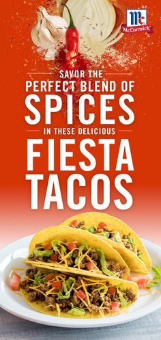 Bring on Taco Tuesdays! McCormick Taco Seasoning is the perfect blend of spices like chili pepper, cumin, garlic and onion. No MSG. No artificial flavors. Perfect for a busy weeknight meal, these delicious tacos are ready in just 15 minutes. Keto Crockpot Recipes, Slow Cooker Recipes, Chicken Recipes, Cooking Recipes, Baked Chicken, Mexican Dishes, Mexican Food Recipes, Great Recipes, Dinner Recipes
