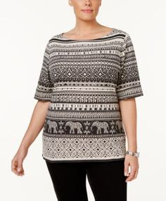 Karen Scott Plus Size Printed Boat-Neck Top, Only at Macy's - Black 0X