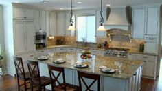 Venetian Gold Granite With White Cabinets | gold tones throughout Golden Butterfly granite compliment the white ...