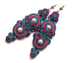 BOLLYWOOD Statement long earrings soutache colorful от SaboDesign, $110,00