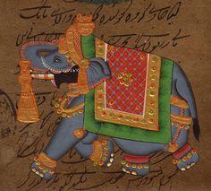 INDIA-MINIATURE-PAINTING-ELEPHANT-VINTAGE-COURT-PAPER-Ethnic-Folk-Animal-Artwork-200855233242