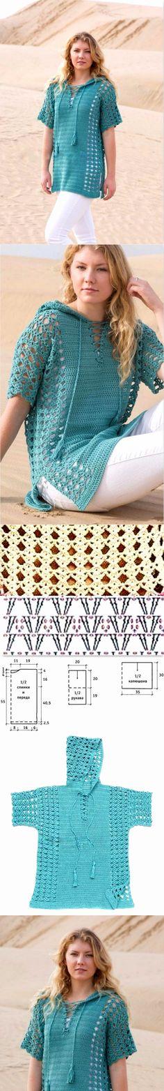 Ажурный пуловер крючком с капюшоном. Схема узора (Вязание крючком) | Журнал Вдохновение Рукодельницы