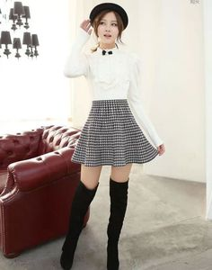 2014-Houndstooth-skirt-women-fashion-latest-design.jpg (544×692)