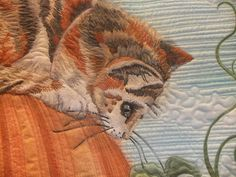Close up of the appliqued cat quilt