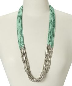 Look what I found on #zulily! Mint & Silvertone Seed Bead Necklace #zulilyfinds