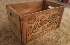 vintage wood beer crates | Vintage-Leinenkugels-beer-wooden-shipping-crate-RARE-2-doz-small ... Wooden Shipping Crates, Wooden Crates, Vintage Wood, Hope Chest, Storage Chest, Basement, Wood Crates, Wood Boxes, Wood Boxes