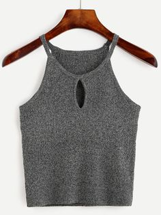 Grey Keyhole Front Marled Cami Top Mobile Site