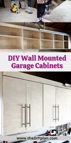 Build your own DIY Wall Mounted Cabinets with free plans! Easy to customize and perfect for your work shop, garage or craft room! #cabinets #wallmounted #diy #woodproject #furniture #homedecor