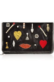 Stella McCartney The Falabella crystal-embellished faux leather clutch | NET-A-PORTER