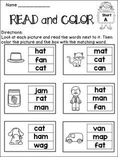 Short Vowel Activities NO PREP English Worksheets For Kindergarten, Kindergarten Learning, Kindergarten Math Worksheets, Phonics Worksheets, Phonics Reading, Teaching Phonics, Vowel Activities, Word Family Activities, English Phonics