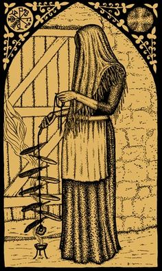 Gemma Gary - Traditional Witchcraft and Charming in Cornwall.  Witches ladder being blessed over an incense burner  before hanging it in the corner of the room. Made at the start of the Witches year (Samhain) and burned at the end of the year on the bonfire.