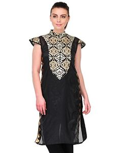 Fashionable Women's Straight Kurtas - http://www.zazva.com/shop/women/fashionable-womens-straight-kurtas/ Women Kurtis Sleeve : Sleeveless Women Kurtas Color: Black Kurti Kurti Fabric: Raw Silk and Pattern: Embellished And Occassion : Party