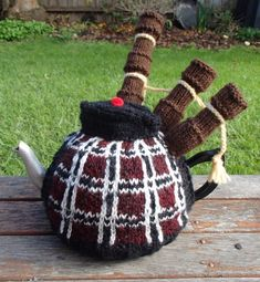 Knitting Pattern for Bagpiper Tea Cosy - Scottish bagpipe player inspired cozy pattern is designed by TheKiltedKnitter