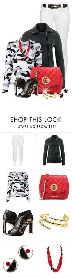 """White Jeans, Biker Jacket, Ribbon Printed Blouse"" by franceseattle ❤ liked on Polyvore featuring rag & bone, MuuBaa, MSGM, Love Moschino, navabi, BCBGMAXAZRIA, Jules Smith and Marni"