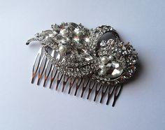 Crystal and Pearl Bridal Comb. $52.00, via Etsy.
