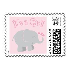 Elephant Baby Shower Stamps   Pink and Gray