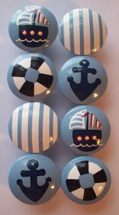 Hand Painted Nautical Knobs.....Can also use same to create Nautical Rock Display !