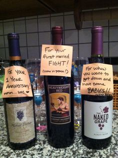 Bridal Shower Gift - find wines with appropriate names for each :) give along with Wine Glasses!