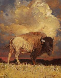 Where the buffalo roam - gorgeous depiction of the iconic American Bison - We are proud to introduce a new collection based on the art of Jeff Segler. Wildlife Paintings, Wildlife Art, Animal Paintings, Animal Drawings, Art Drawings, Drawing Animals, Buffalo Painting, Buffalo Art, Native Art