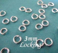 50 pcs- 3mm-Sterling Silver Locking Jump Ring-22 guage  For more jump rings: see link