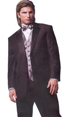 Black Sterling Tuxedo by Perry Ellis:  Tone-on-Tone Stripe, 2-Button Closure, Satin Notch Lapel