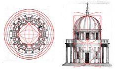 Bramante's presentation plan in golden ratio. Donato Bramante, an Italian architect, introduced Renaissance architecture to Milan and the High Renaissance style to Rome.