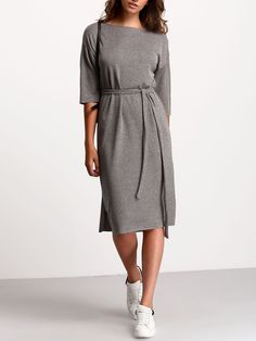 Shop Grey Crew Neck Tie Waist Dress online. SheIn offers Grey Crew Neck Tie Waist Dress & more to fit your fashionable needs.
