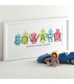 Children's Robot Name Print